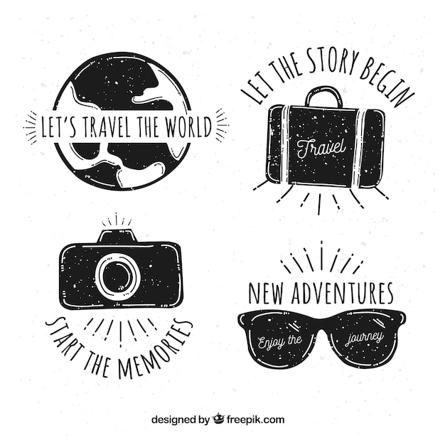 6fa1e91208a00 Set of hand drawn travel logos Free Vector