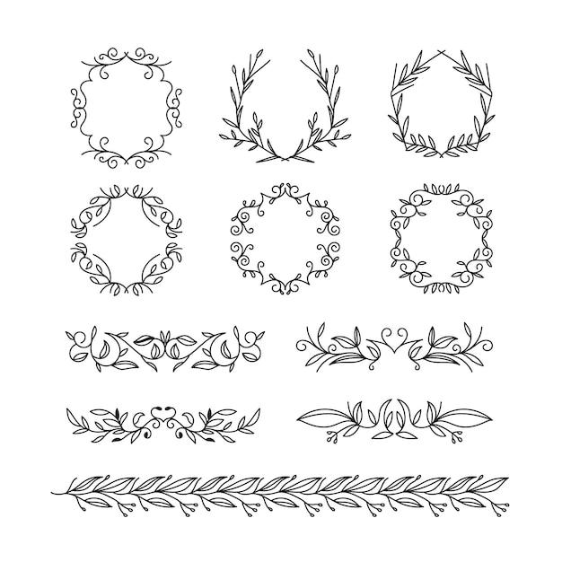 Установите рисованные типы рамки и разделителей Бесплатные векторы