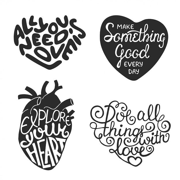 Set of hand drawn typography design in heart shape Premium Vector