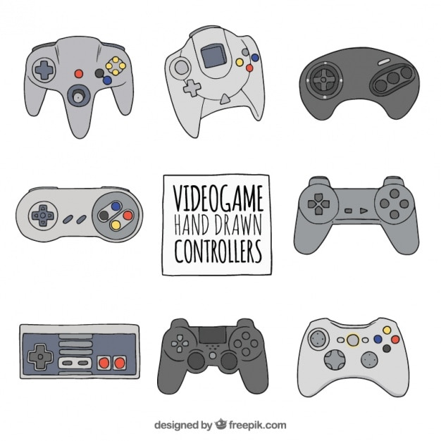 Set of hand drawn video game controllers Premium Vector