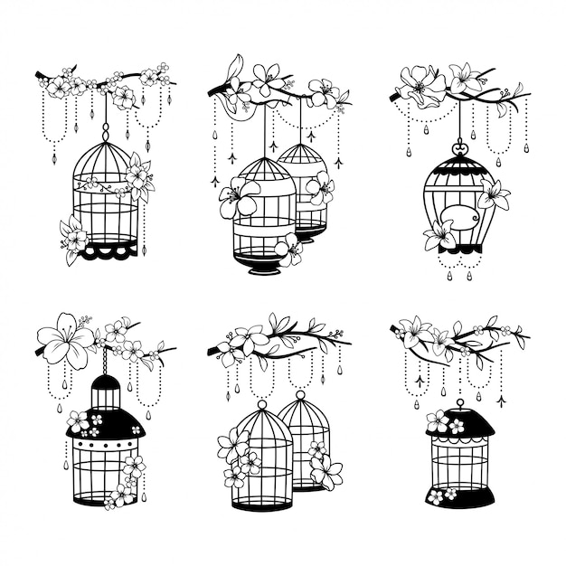 Set of hand drawn wedding birdcage decoration Premium Vector