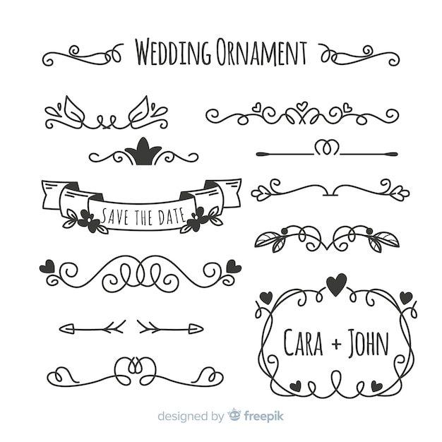 Set of hand drawn wedding ornaments Free Vector