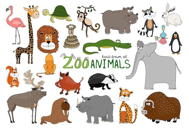 Set di animali da zoo disegnati a mano su bianco Vettore gratuito