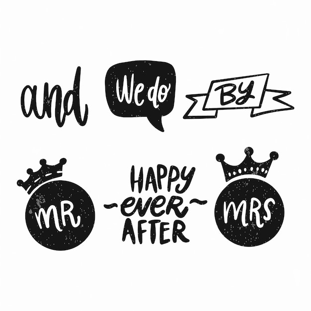 Set of hand lettered ampersands and catchwords Free Vector