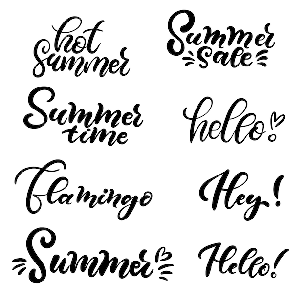 Set of hand lettering about summer. Premium Vector