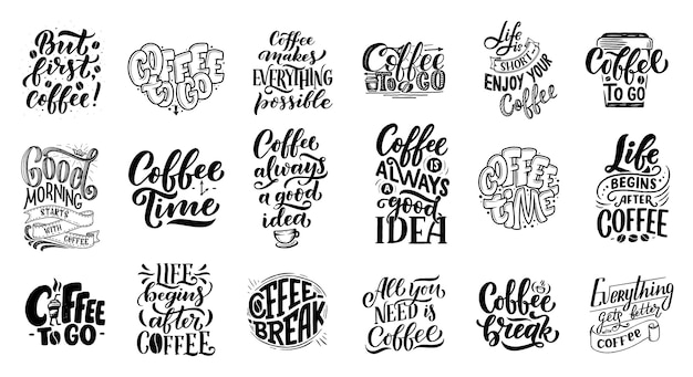 Set of hand lettering quotes with sketches for coffee shop or cafe Premium Vector