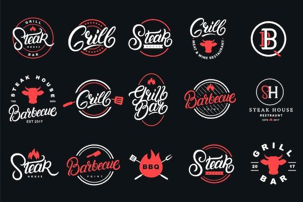Set of hand written lettering logo, badge, label, sign, emblem for grill and barbecue restaurant, cafe, foods shop, steak house. modern calligraphy. vintage typography. vector illustration. Premium Vector
