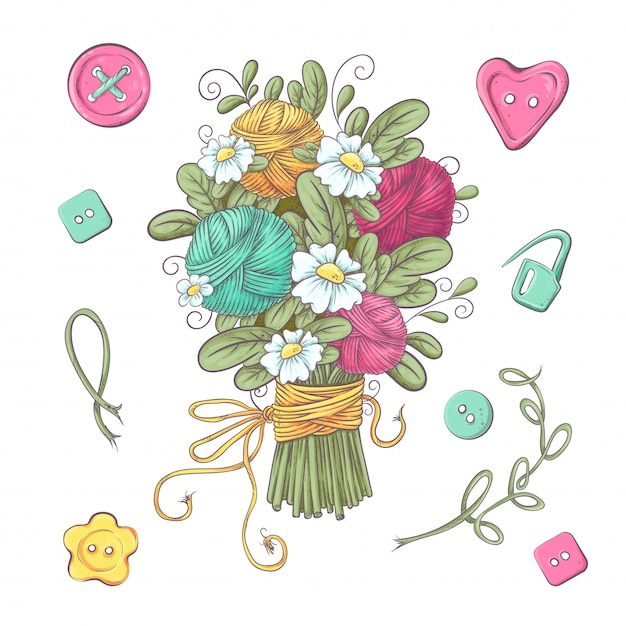 Set for handmade knitted flowers and elements Premium Vector