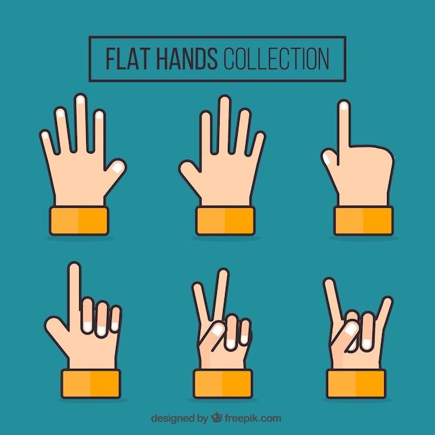 Set of hands in flat design Free Vector