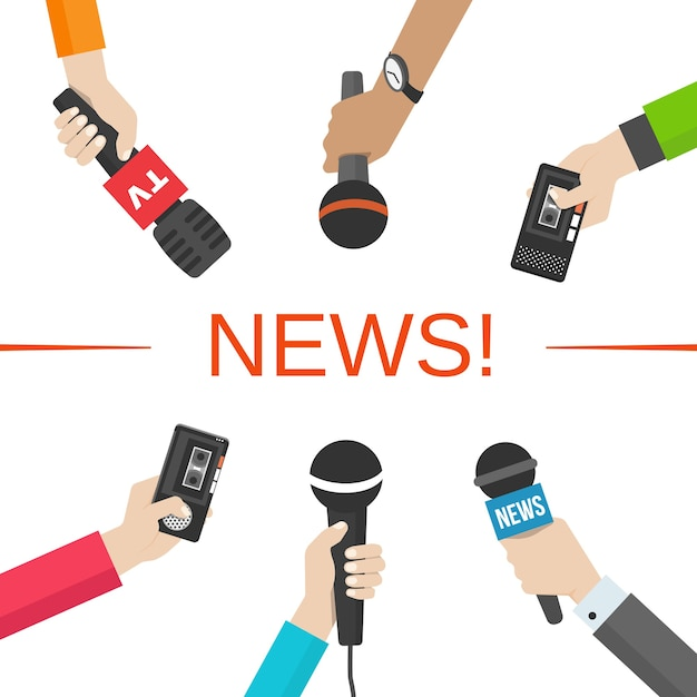 Set of hands holding microphones and voice recorders. news and journalism concept. vector illusatration Free Vector
