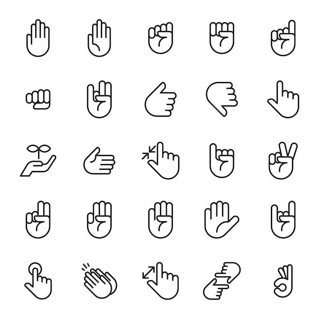 Set of hands sign icon Premium Vector
