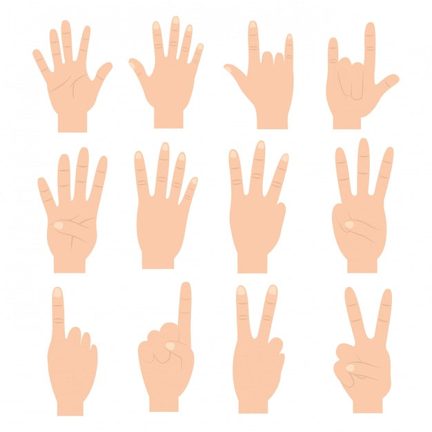 Set of hands with different gestures Free Vector