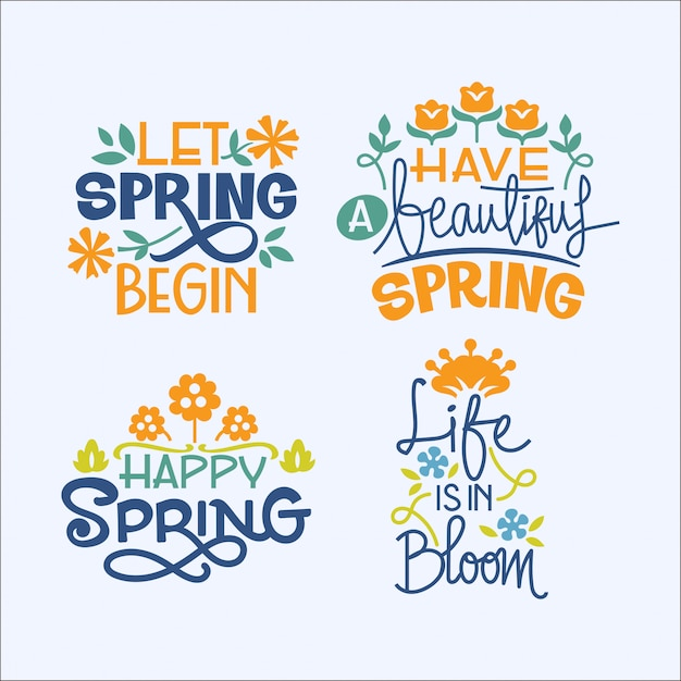 Set of handwriting inspirational quote about spring season Premium Vector