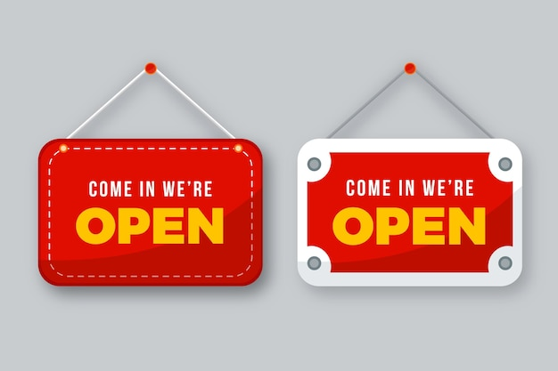Set of hanging we are open signs Free Vector
