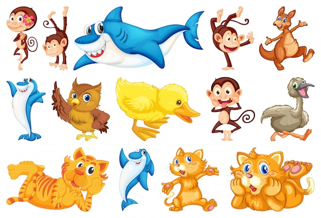 Set of happy animal Free Vector