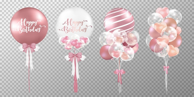 Set of happy birthday balloons on transparent background. Free Vector