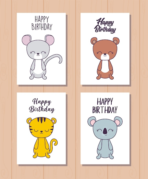 Set of happy birthday cards with cute animals Premium Vector