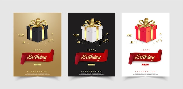 Set of happy birthday celebration with realistic gift box and ribbon. Premium Vector