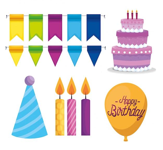 Set of happy birthday paty celebration Free Vector