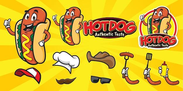 Set of happy cartoon hot dog logo Premium Vector