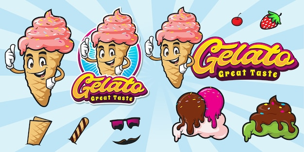 Set of happy cartoon ice cream logo Premium Vector