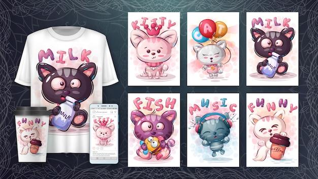 幸せな猫を設定-ポスターとマーチャンダイジング 無料ベクター