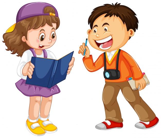 Set of happy children character Free Vector