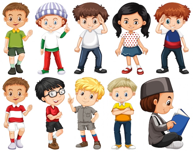 Set of happy children in different costume Free Vector