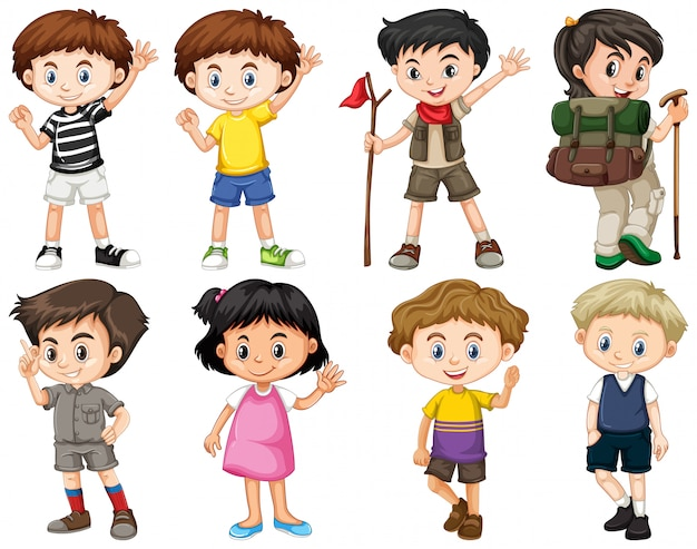Set of happy children doing different actions Free Vector