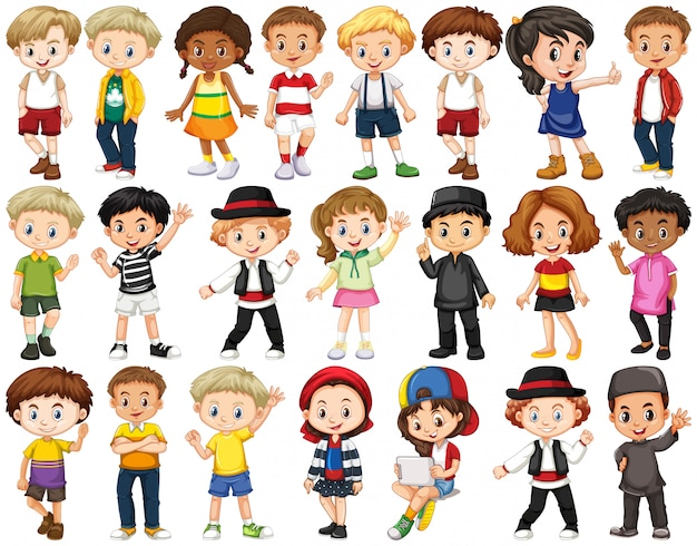 Set of happy children waving hands Free Vector