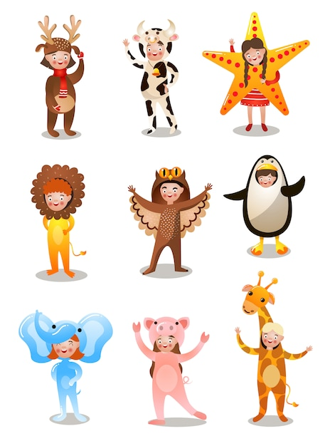 Set of happy cute kids in different holidays costume Premium Vector