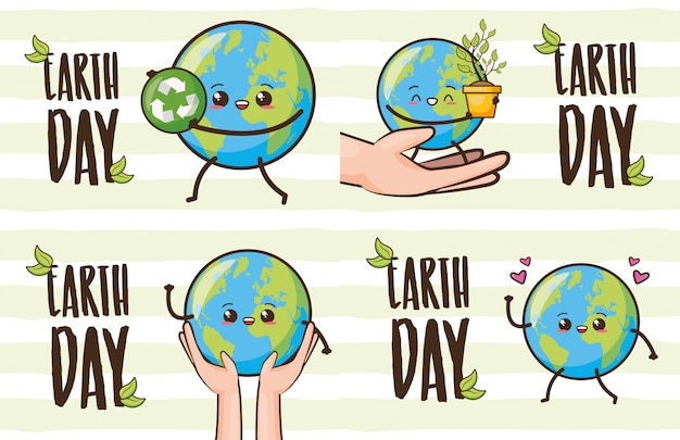 Set of happy earth kawaii, earth day, illustration Free Vector