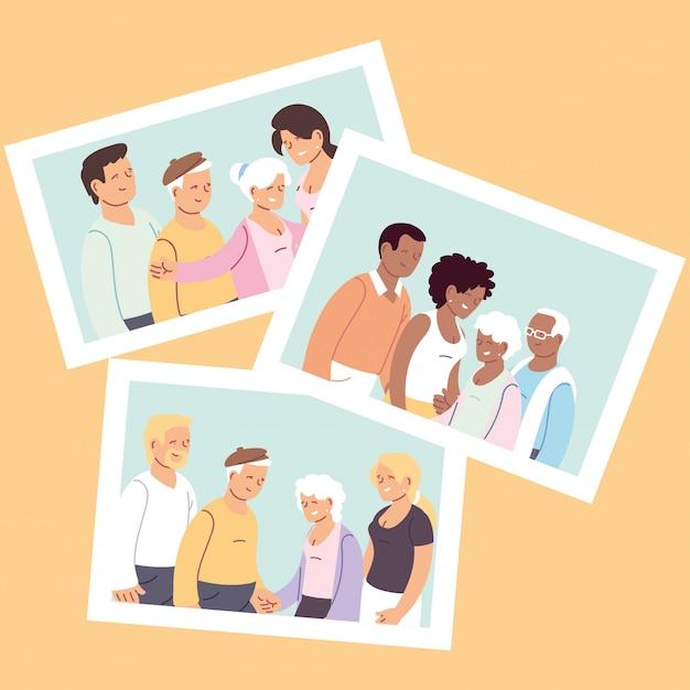 Set of happy families, granddaughter, grandson and grandparents Premium Vector