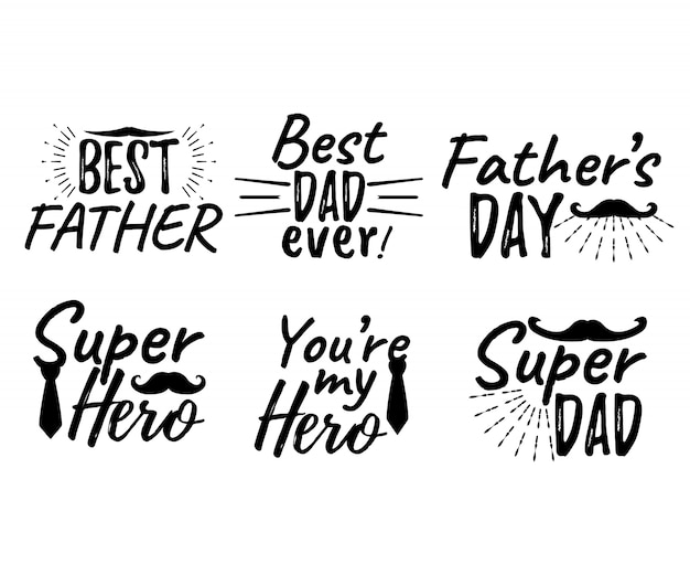Set of happy father's day lettering. best father. best dad ever. super hero Premium Vector