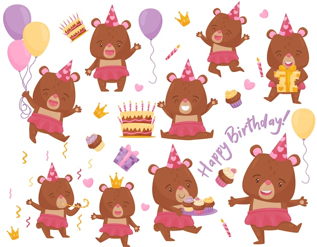 Set of happy girl bear in different actions. adorable humanized animal.   elements for birthday postcard Premium Vector