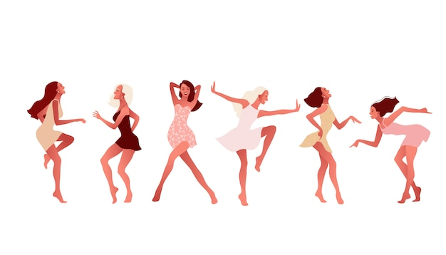 Set of happy girls or friends dancing and laughing. Premium Vector