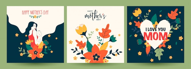 Set of happy mother's day celebration greeting card Premium Vector