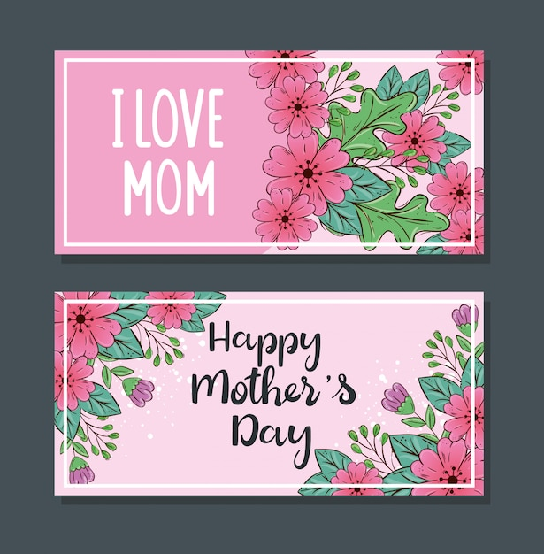 Set of happy mothers day banners with flowers and leaves ...