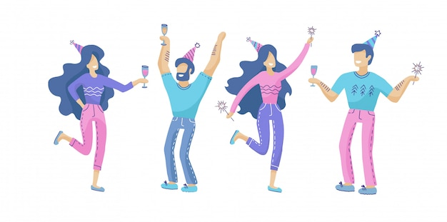 Set of happy people at a festive party Premium Vector