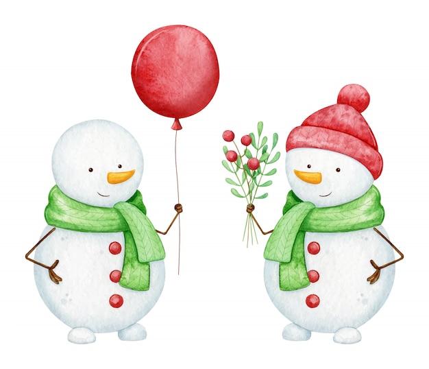 Set of happy watercolor snowmen Premium Vector