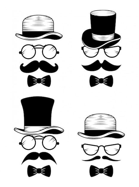 Set di cappello con occhiali e baffi Vettore gratuito