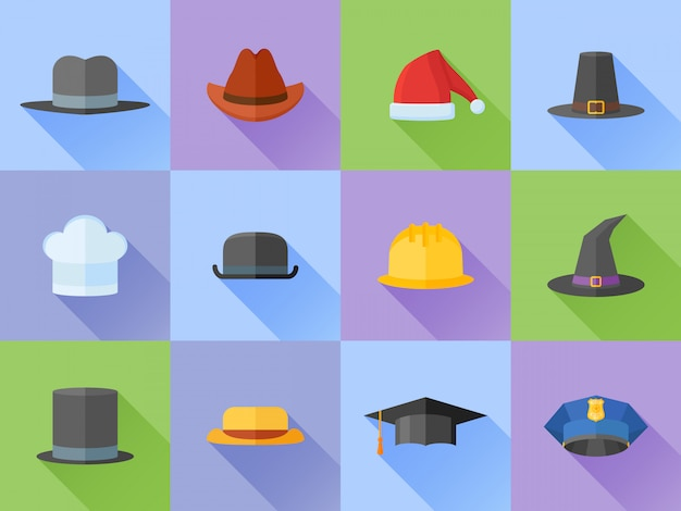Set of hats flat style icons with long shadow. Premium Vector