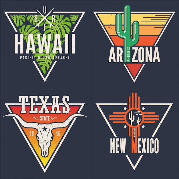 Set of hawaii arizona texas new mexico tee prints. Premium Vector