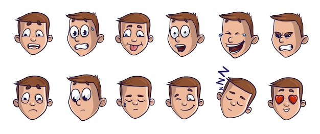Set of head images with different emotional expressions. emoji cartoon faces conveying various feelings. Premium Vector