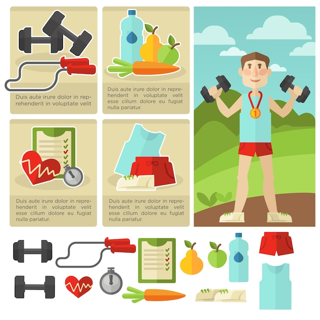 Set of health food and fitness. Premium Vector