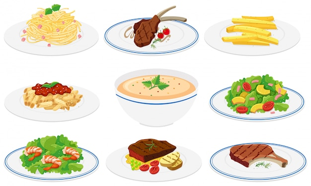Set of healthy dishes Free Vector