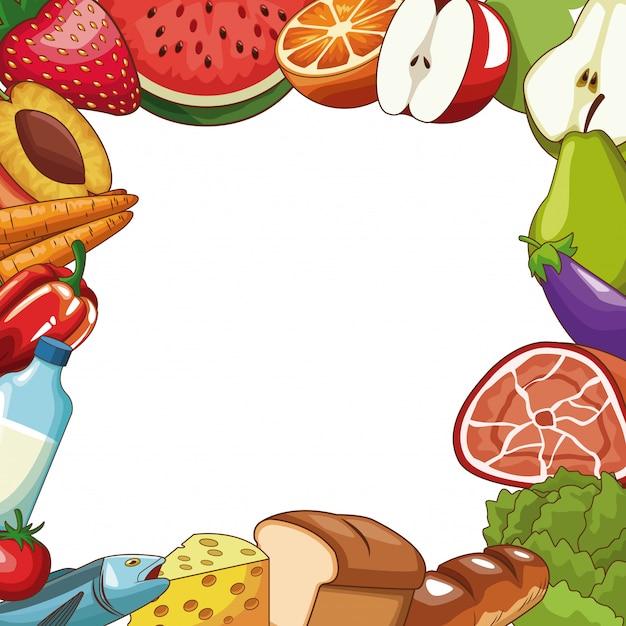Set of healthy food cartoons Vector | Premium Download