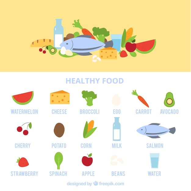 Set of healthy food in flat design Free Vector
