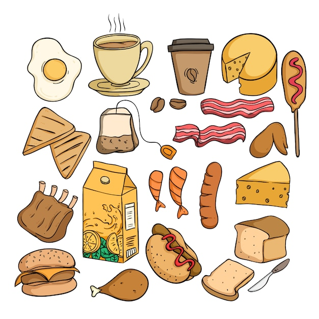 Set of healthy food for lunch with colored doodle or hand drawn style Premium Vector