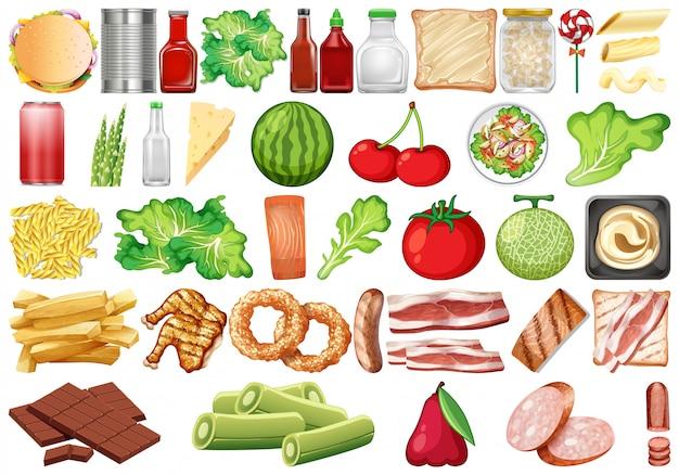 Set of healthy food Premium Vector